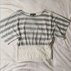 Gray and white striped short sleeve glitter top